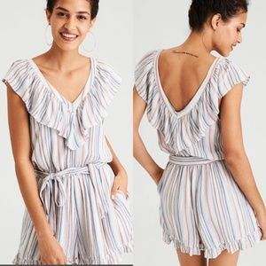 Boho Summer Ruffle Stripe Romper with POCKETS